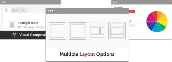 رنگ ها و استایلهای متنوع و بهره گیری از Visual Composer - قالب وردپرس موتیو