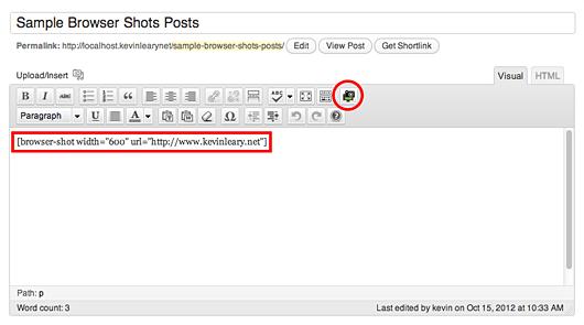 دکمه ی ایجاد اسکرین شات از وبسایت در بالای ویرایشگر دیداری وردپرس