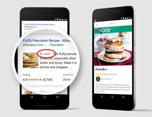 نمونه نمایش وبسایتی که از accelerated mobile pages استفاده میکند در نتایج جستجوی گوگل