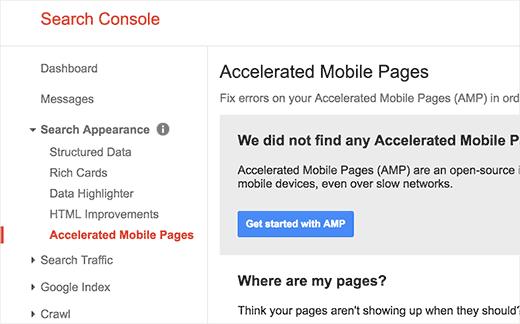 بررسی نسخه AMP سایت در کنسول جستجوی گوگل